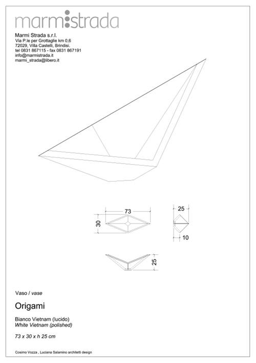marmi strada vaso origami progetto